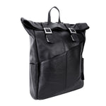 Leather Laptop Backpack for Women & Men - Brown and Black Leather Black