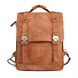 Top Grain Leather Backpack Knapsack for Men and Women for Laptops Front