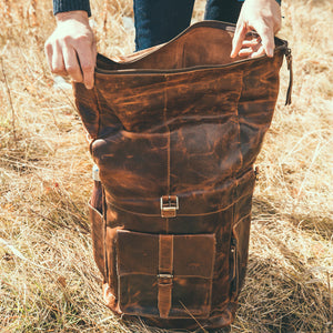 The Kobuk Men's Leather Backpack Roll Top Rucksack For Laptops Antique Brown Open