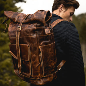 The Kobuk Men's Leather Backpack Roll Top Rucksack For Laptops Antique Brown Backpack Big