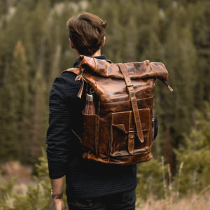 The Kobuk Men's Leather Backpack Roll Top Rucksack For Laptops Antique Brown Rear