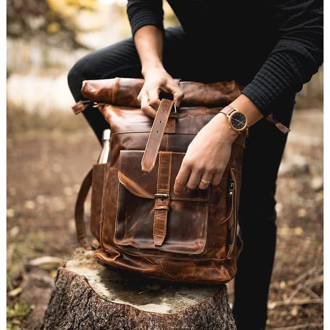 The Kobuk Men's Leather Backpack Roll Top Rucksack For Laptops Antique Brown Closed
