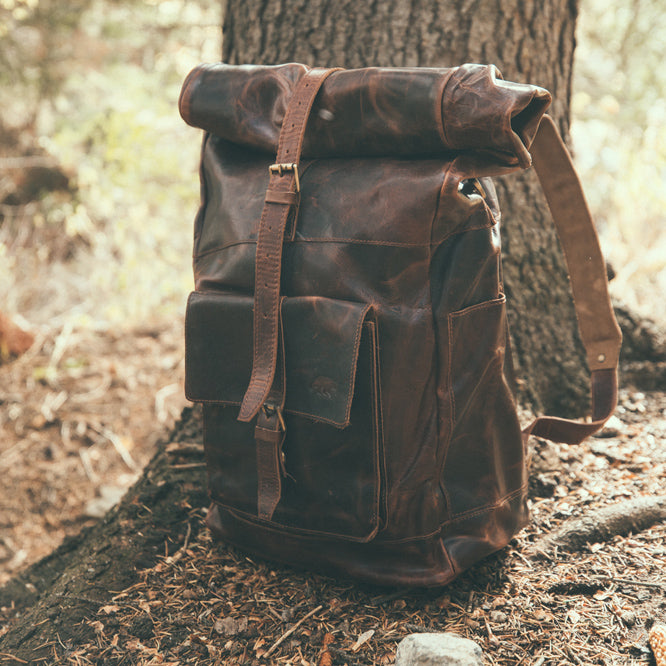 The Kobuk Men's Leather Backpack Roll Top Rucksack For Laptops Dark Walnut Side