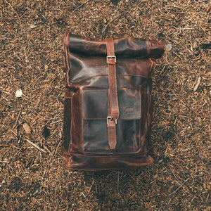 The Kobuk Men's Leather Backpack Roll Top Rucksack For Laptops Dark Walnut