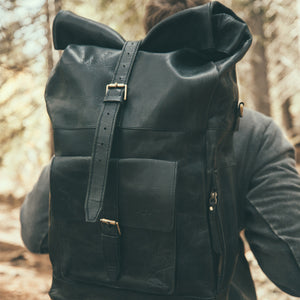 The Kobuk Men's Leather Backpack Roll Top Rucksack For Laptops Midnight Black Worn