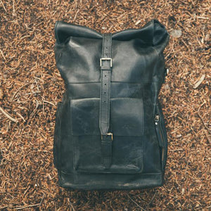 The Kobuk Men's Leather Backpack Roll Top Rucksack For Laptops Midnight Black