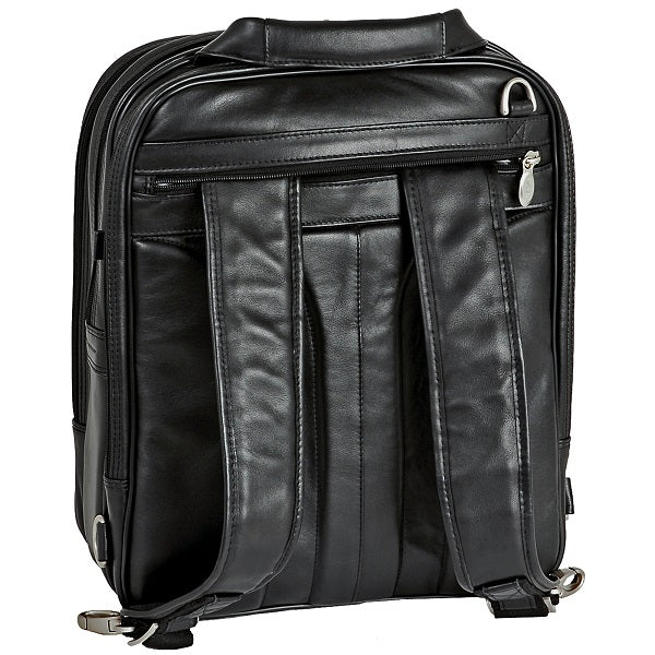 Black Leather Laptop Backpack for Men - Convertible Briefcase Back