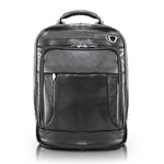 Black Leather Laptop Backpack for Men - Convertible Briefcase Front