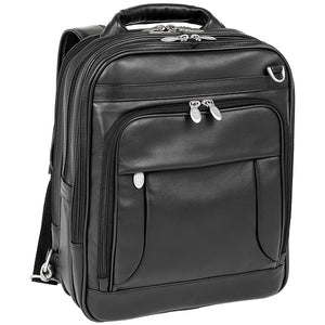 Black Leather Laptop Backpack for Men - Convertible Briefcase
