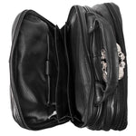 Black Leather Laptop Backpack for Men - Convertible Briefcase Open