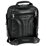 Black Leather Laptop Backpack for Men - Convertible Briefcase Messenger