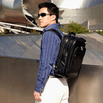 Black Leather Laptop Backpack for Men - Convertible Briefcase Worn