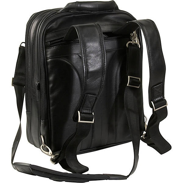 Black Leather Laptop Backpack for Men - Convertible Briefcase Straps