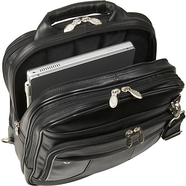Black Leather Laptop Backpack for Men - Convertible Briefcase Laptop