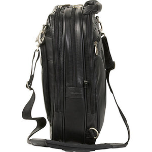 Black Leather Laptop Backpack for Men - Convertible Briefcase Side