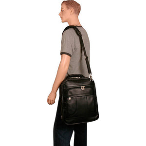Black Leather Laptop Backpack for Men - Convertible Briefcase Worn Messenger