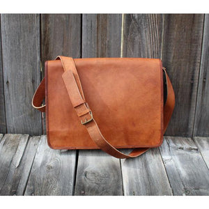 The Messenger Leather Messenger Bag for Men and Women for 15 Inch Laptops