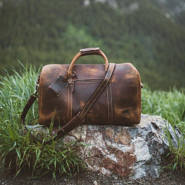 Men's Overnight Travel Leather Duffel Bag - 30L Top Grain Leather