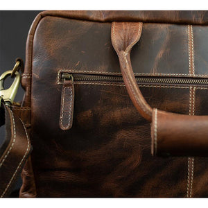 The Pilot Men's Buffalo Leather Messenger Bag for 16 Inch Laptops