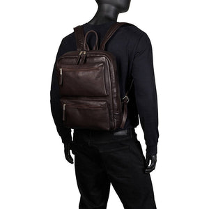 Full Grain Leather Laptop Backpack for 15 Inch Laptops Brown Worn