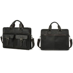 Men's Leather Messenger Bag Briefcase for 15 Inch Laptops Black Side