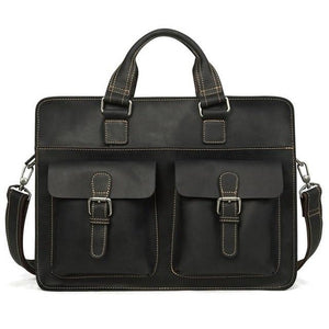 Men's Leather Messenger Bag Briefcase for 15 Inch Laptops Black