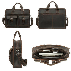 Men's Leather Messenger Bag Briefcase for 15 Inch Laptops Dark Brown 4 Views