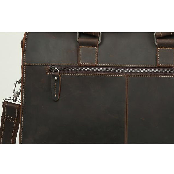 Men's Leather Messenger Bag Briefcase for 15 Inch Laptops Leather Zipper