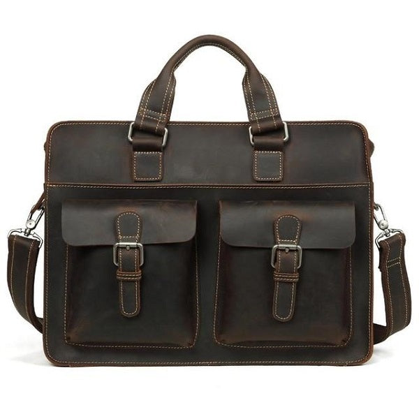 Men's Leather Messenger Bag Briefcase for 15 Inch Laptops Dark Brown