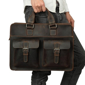 Men's Leather Messenger Bag Briefcase for 15 Inch Laptops Dark Brown Worn