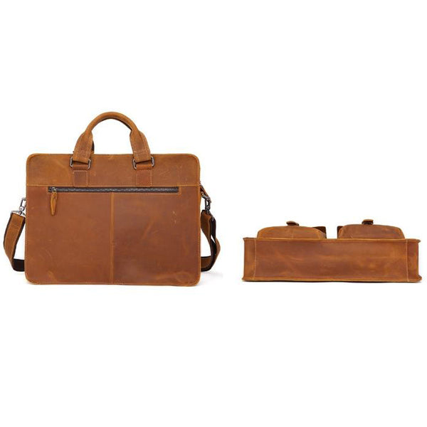 Men's Leather Messenger Bag Briefcase for 15 Inch Laptops Light Brown Back Under