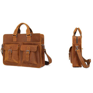 Men's Leather Messenger Bag Briefcase for 15 Inch Laptops Light Brown Side