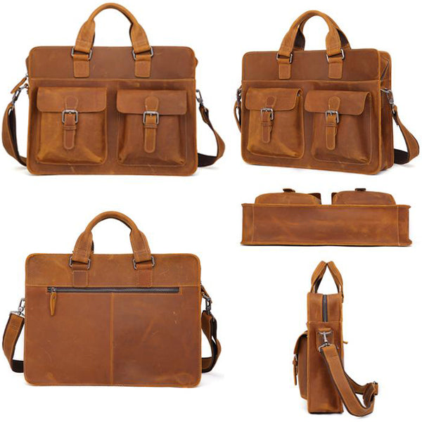 Men's Leather Messenger Bag Briefcase for 15 Inch Laptops Light Brown 4 Views