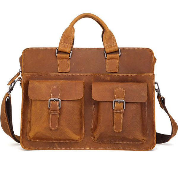 Men's Leather Messenger Bag Briefcase for 15 Inch Laptops Light Brown