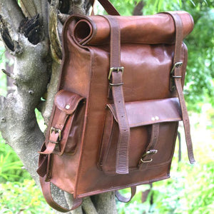 Rolltop Leather Backpack for Hiking for Men - Vintage Laptop Rucksack Hanging