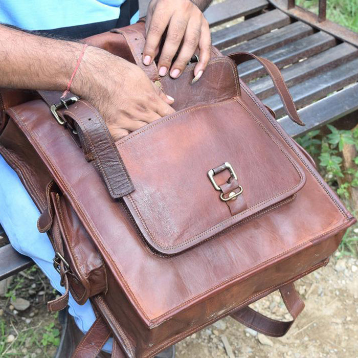 Rolltop Leather Backpack for Hiking for Men - Vintage Laptop Rucksack Open