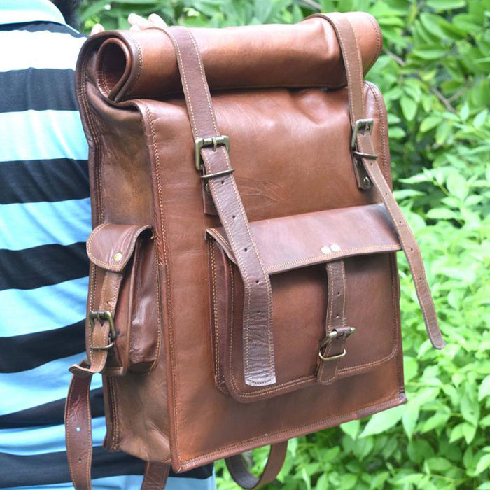 Rolltop Leather Backpack for Hiking for Men - Vintage Laptop Rucksack Worn