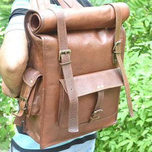 Rolltop Leather Backpack for Hiking for Men - Vintage Laptop Rucksack Worn2