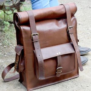 Rolltop Leather Backpack for Hiking for Men - Vintage Laptop Rucksack