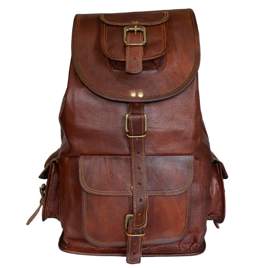 Vintage Leather Backpack for Men and Women - Hiking Outdoor Backpack Front