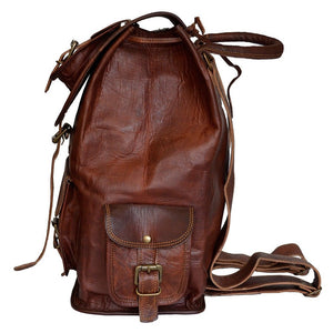 Vintage Leather Backpack for Men and Women - Hiking Outdoor Backpack Side