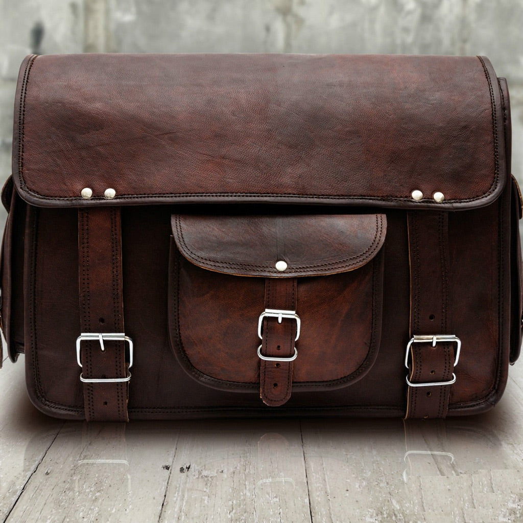 Laptop Leather Messenger Bag Briefcase for Men - Crossbody Bag Front 2