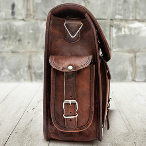 Laptop Leather Messenger Bag Briefcase for Men - Crossbody Bag - Side