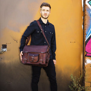 Laptop Leather Messenger Bag Briefcase for Men - Crossbody Bag Styled