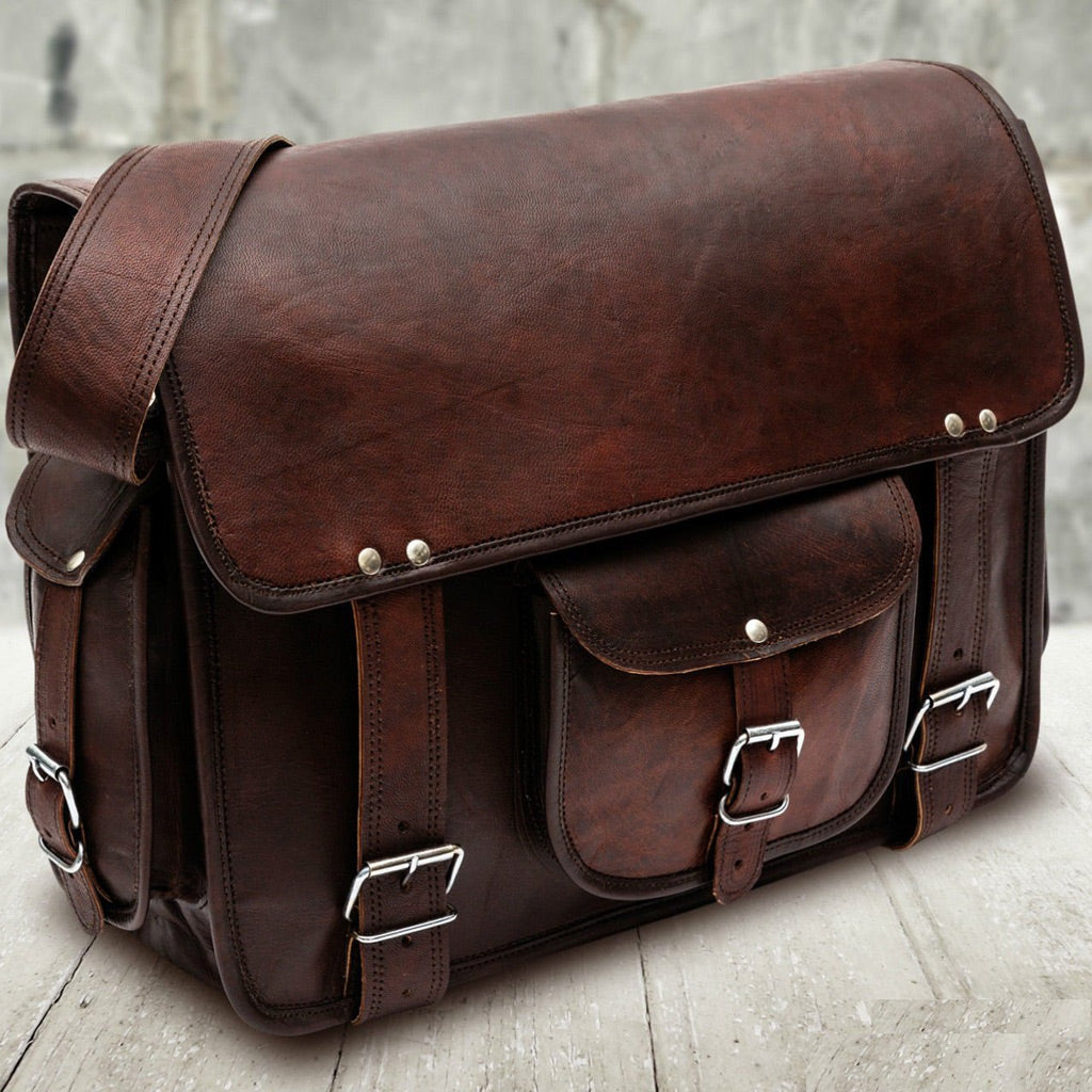 Laptop Leather Messenger Bag Briefcase for Men - Crossbody Bag Front
