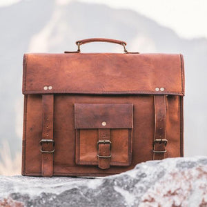 VEGETABLE TANNED large capacity Classic traditional men/'s woman work briefcase Leather briefcase