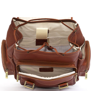 Leather Backpack for Women & Men for 15 Inch Laptops Tan Open