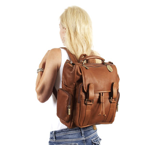 Leather Backpack for Women & Men for 15 Inch Laptops Tan Woman Styled