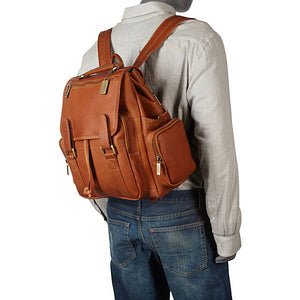 Leather Backpack for Women & Men for 15 Inch Laptops Tan Mannequin