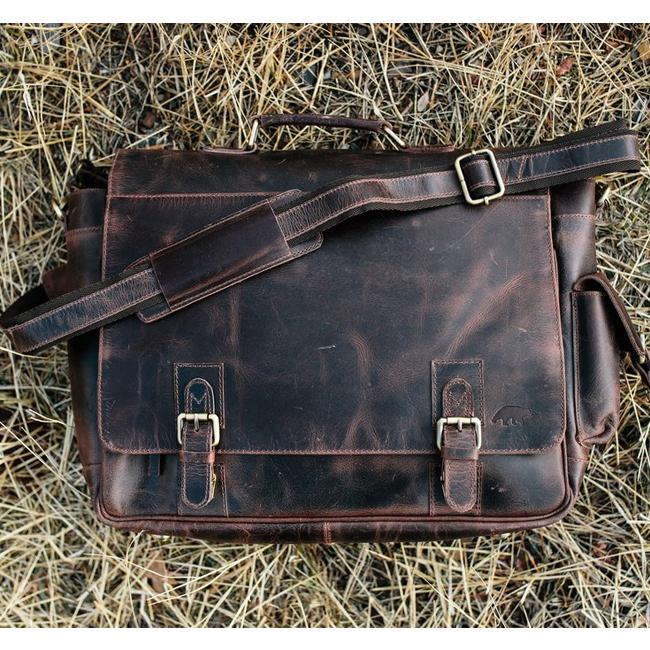 The Sitka Men's Buffalo Leather Messenger Bag for 15 Inch Laptops